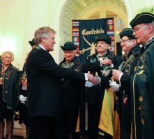 Confrerie du Sabre d'Or Ambassador & Officers welcome Jonathan as Chevalier Maitre Sabreur