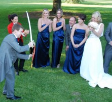 Delighted bride and onlookers as Groom performs a perfect sabrage
