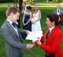 Kent Maitre Sabreur presents Groom with his Sabreur certificate - Copy